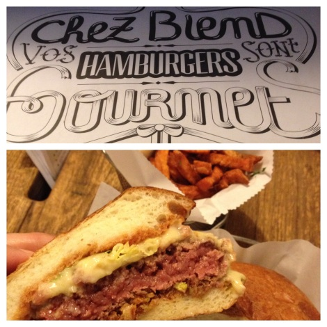 A French gourmet hamburger and sweet potato fries at Blend
