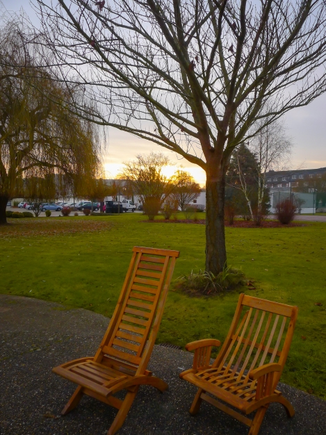 Sunrise from our Guesthouse.  I would have loved to lounge in those chairs if it wasn't so cold!