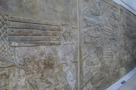 Assyrian walls depicting the cedars of Lebanon being transported by sea (1 Kings 5:8,9)