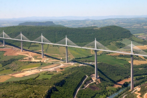 The Millau Viaduct (from Wikipedia, sadly I couldn't take a photo as I was driving...)