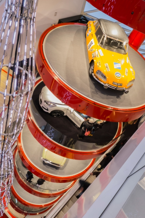 The Citroen Shop with many levels of cars, both classic and new...