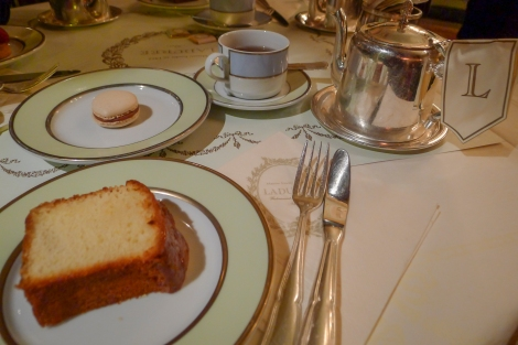 Our tea, cake and macaron at Ladurée, in elegant surroundings...