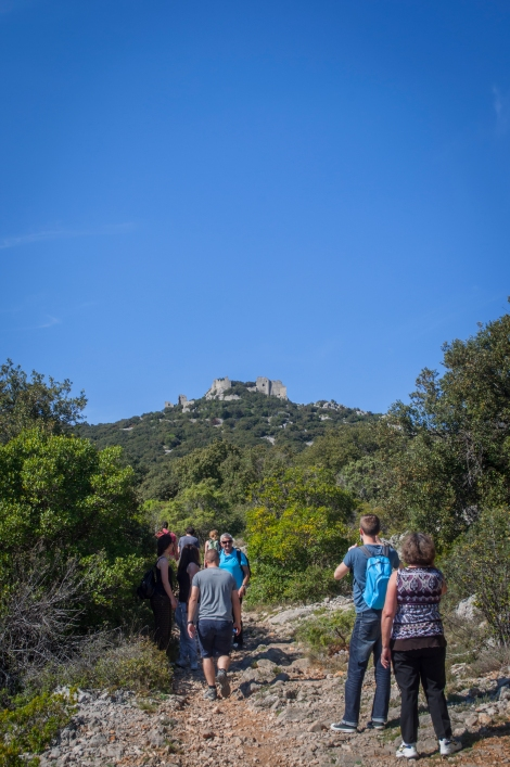 Beginning the hike up to Chateau Montferrand