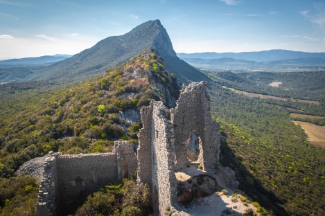 From the top:  Pic Saint Loup (the largest mountain in the distance) with the castle remains in the foreground
