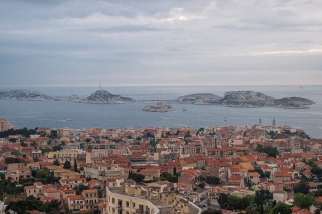 Views from the Notre Dame.  Nearby islands, with the most famous one housing Chateau d'If (from Count of Monte Cristo) in the foreground
