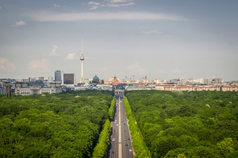 Our calves were burning and we were short of breath by the time we reached the top of the Victory Column, but the views were worth it.  Here we're looking through the Tiergarten down to the Brandenburg Gate