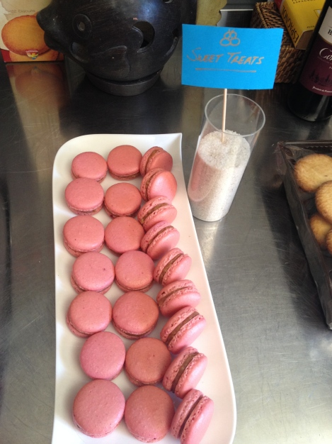 Strawberry Cheesecake Macarons (Filling with Kiri [the French version of cream cheese], Speculoos spread [aka Cookie Butter], and strawberry jam)