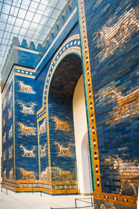 The visually stunning Ishtar Gate reconstructed from the ruins of Babylon.  It was originally built around 575 BCE by the order of King Nebuchadnezzar II and once considered one of the 7 wonders of the world.  This is the smaller frontal gate of an original double gate - the back part is deemed too large to fit into the constraints of the museum