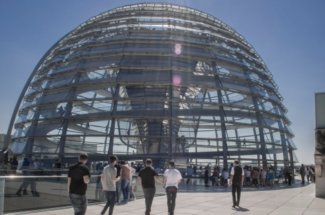 The Dome that sits on top of the Reichstag.  The Dome symbolizes that the people are above the government.