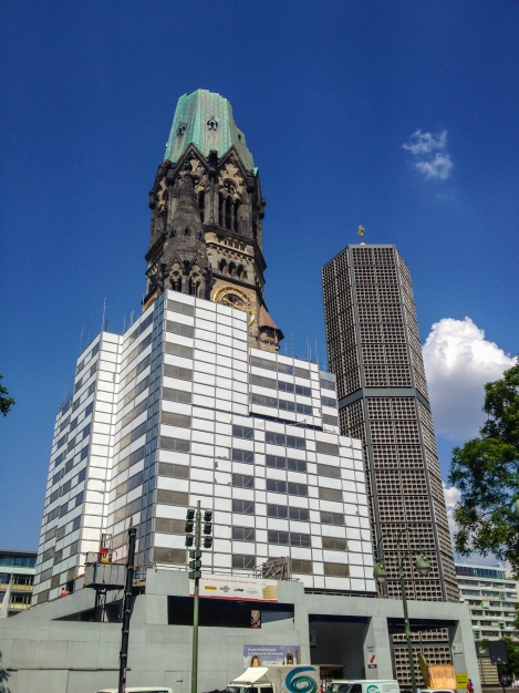 The Kaiser Wilhelm Memorial Church, built in the 1890's and damaged in a bombing raid in 1943.  The church was largely destroyed, leaving only the shell of its spire and the entrance hall.