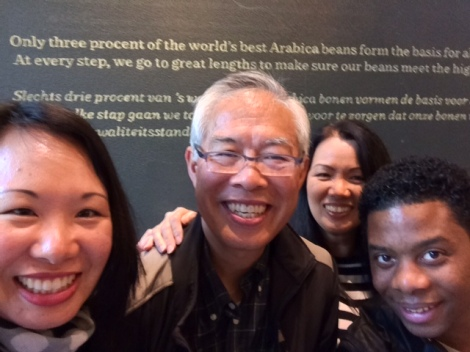 Meeting up with our friend Wendell and taking a Starbucks selfie...