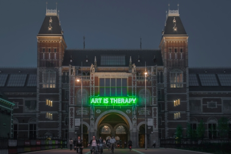 The Rijksmuseum at Night with another demonstration of how the Dutch are combining modern ideals with classical artwork