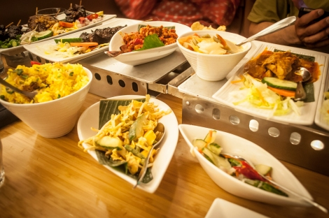 Just some of the dishes of the Rijsttafel (Rice Table in English)