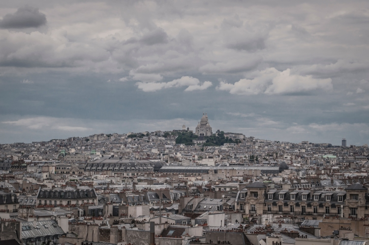 Looking out towards the Montmartre and the Basilique du Sacre Coeur