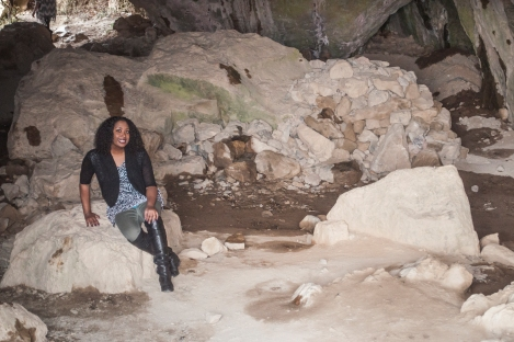 Erica poses inside the cave