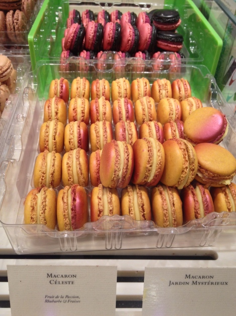 Passionfruit, rhubarb and strawberry ombré macarons in the front. The ones in the back are Pierre's seasonal mystery flavor (which of course, I had to taste)