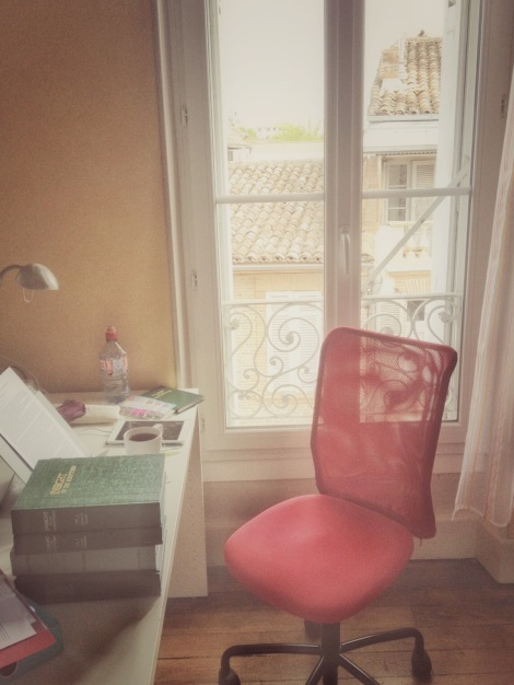 My little apartment study area, overlooking the rooftops of Montauban